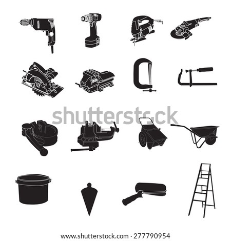 Black silhouettes of different tools, vector - stock vector