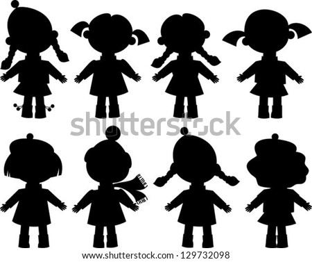 black silhouettes of girls - stock vector