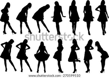 black silhouettes of girls in various poses standing - stock vector