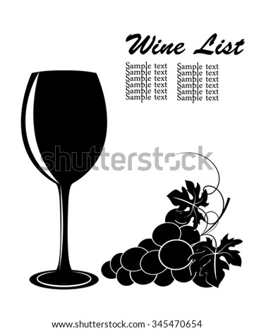 black silhouettes of grapes and a wine glass on a white background - stock vector