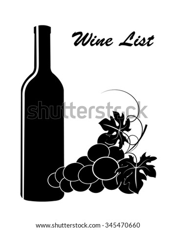 black silhouettes of grapes and bottle on a white background  - stock vector