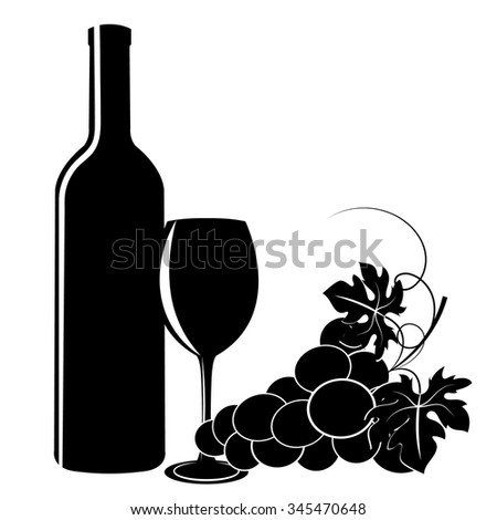 black silhouettes of grapes, wine glass and bottle on a white background