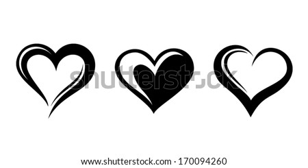Black silhouettes of hearts. Vector illustration. - stock vector