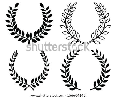 Black silhouettes of laurel wreaths, vector - stock vector