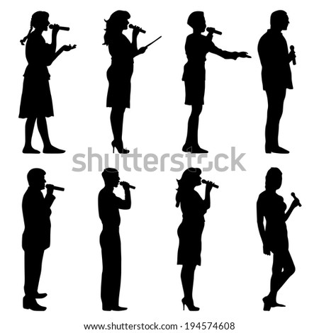 Black silhouettes of  mans and womans singing karaoke on white background. Vector illustration.