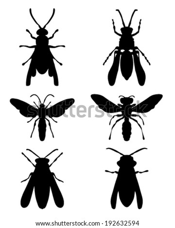 Black silhouettes of on a white background wasps - stock vector
