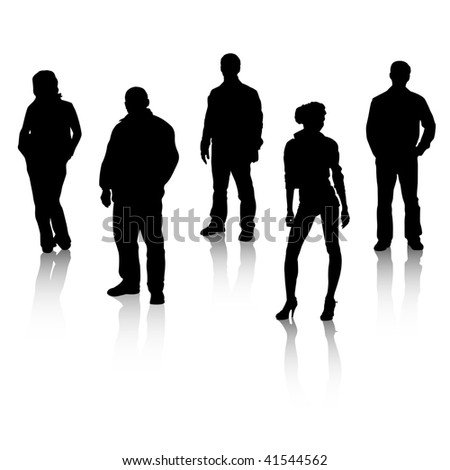 Black silhouettes of people with reflexion. Vector art in EPS format. All silhouettes organized in layers for usability. - stock vector