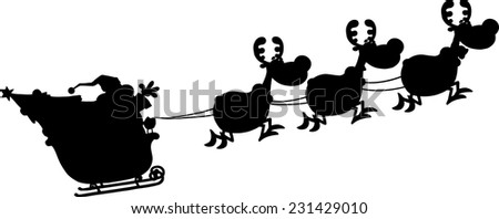 Black Silhouettes Of Santa Claus In Flight With His Reindeer And Sleigh. Vector Illustration Isolated On White Background - stock vector