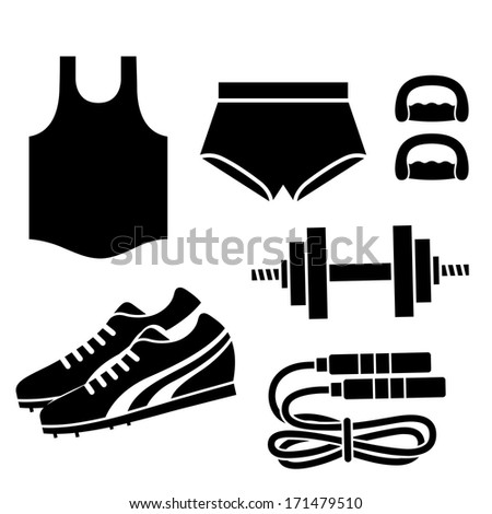 black silhouettes of some fitness related elements - stock vector