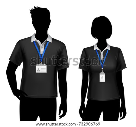 Black Silhouettes Staff Members Man Woman Stock Vector