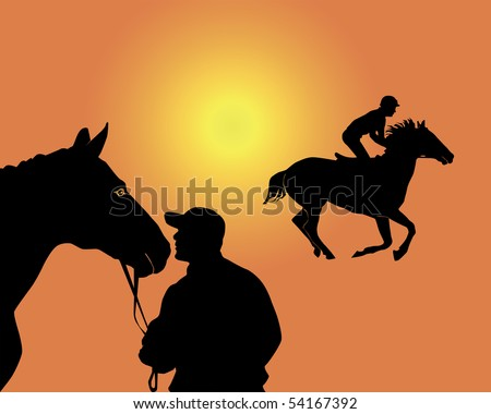 Black silhouettes of the jockey and horse on an orange background