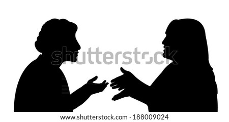 black silhouettes of two women, talking to each other - stock vector