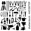Black silhouettes of various kinds of the tool. A vector illustration - stock vector