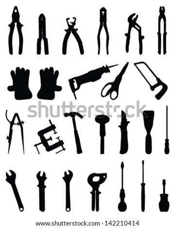 Black silhouettes of various tools, vector - stock vector