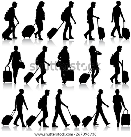 Black silhouettes travelers with suitcases on white background. Vector illustration. - stock vector