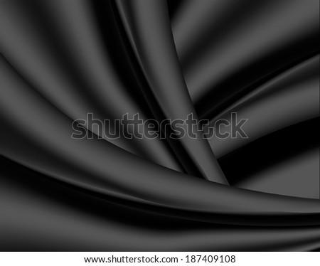 Black silk background, vector illustration - stock vector
