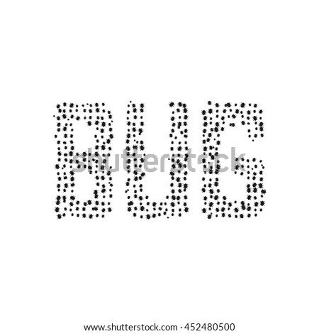 black simple bug text. concept of sick, microbes, ransomware, biology, insectology, worm, buggy, mistake, fault application. flat style trend modern logo design vector illustration on white background - stock vector