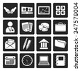 Black Simple Business and office icons - Vector Icon Set - stock vector