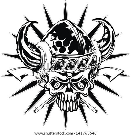 black skull - stock vector