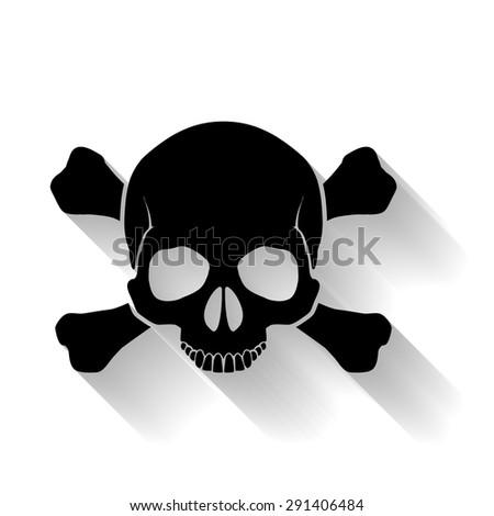 Black skull and cross-bones on yellow background as sign of danger - stock vector