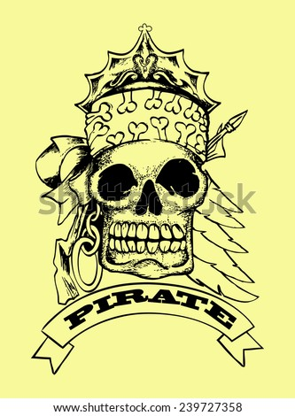 black skull hand draw with pirate text isolated on yellow - stock vector