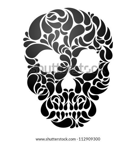 Black Skull isolated on white background. EPS 8 vector illustration. - stock vector