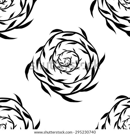 Black small leaves pattern background.Spiral branch.