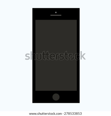 Black smart cell phone icon, vector illustration isolated with blank screen