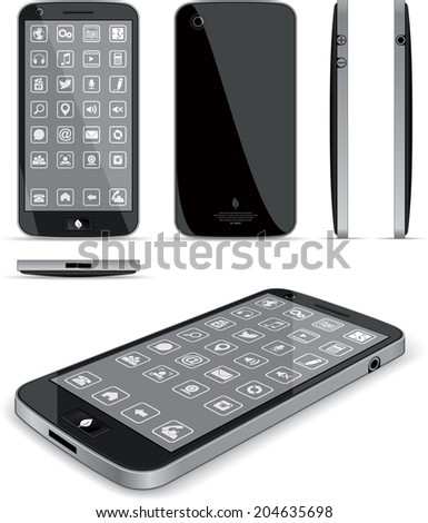 Black Smart Phone - Multiple Views - Vector illustration showing a smart phone in multiple positions. The screen is proportional to the HD format (1080p). File type: vector EPS AI8 compatible.   - stock vector