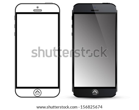 Black Smart Phone Vector. Front view and out line
