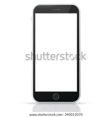 Black Smart Phone Vector Illustration isolated on white.