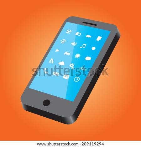 Black Smart phone with white icon's on an orange background. 2d Vector Illustration. - stock vector