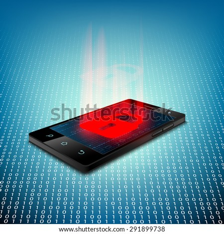Black smartphone on a background of binary code. Sign of the red lock on the screen. Stock Vector. - stock vector