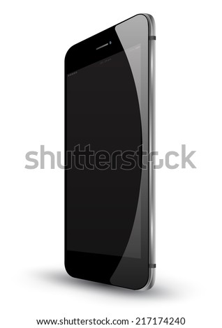 Black smartphone perspective realistic vector mockup. Can use for printing and web object. Game and application mockups. - stock vector