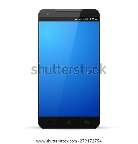 Black Smartphone Template Mockup Display Screen. Isolated On White Background. Ready For Your Design. Vector EPS10  - stock vector