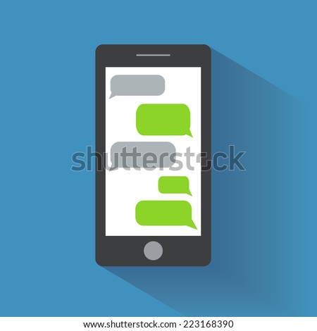 Black smartphone with blank speech bubbles on the screen. Text messaging flat design concept. Eps 10 vector illustration - stock vector