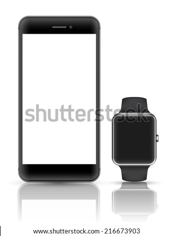 Black smartphone with smart watch vector realistic object. Mock up smart object vector. iPhon style. Vector illustration.