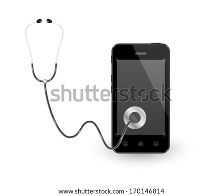 black smartphone with stethoscope on white background