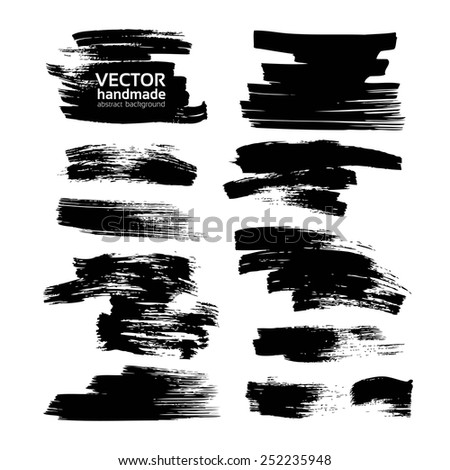 Black smears ink on white pape vector drawing - stock vector