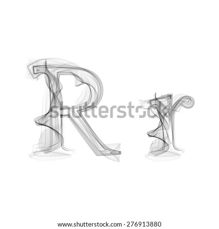 Black Smoke font on white background. Letter R. Vector illustration alphabet - stock vector