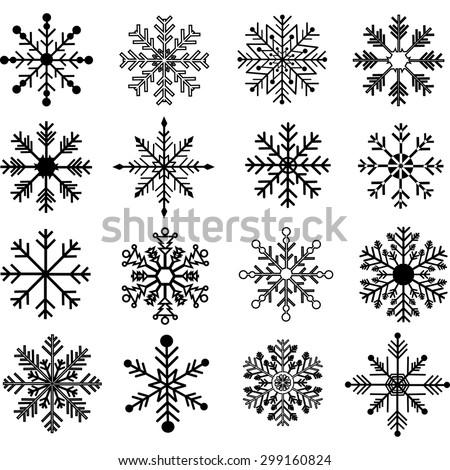 Black Snowflakes Silhouette set - stock vector