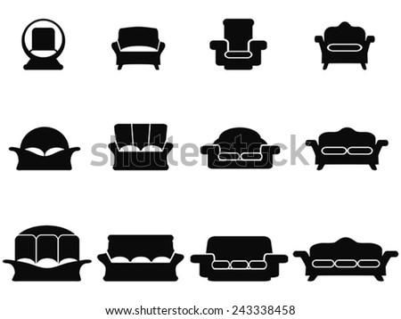 black sofa icons set - stock vector