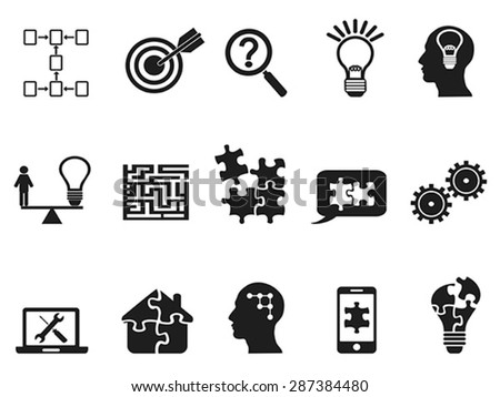 black solution icons set - stock vector