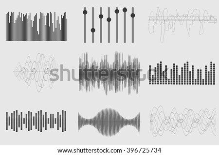 Black sound music waves on white background. Audio technology, visual musical pulse. Vector illustration. - stock vector