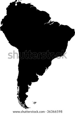 Black South America map without country borders - stock vector