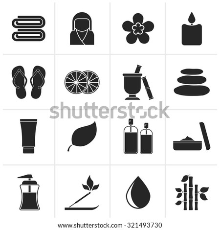 Black Spa objects icons - vector icon set - stock vector