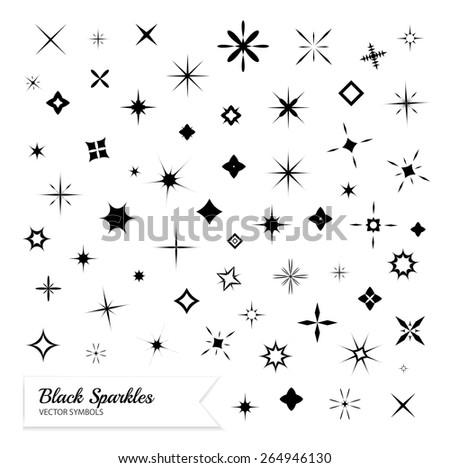Black sparkles symbols. Vector set - stock vector