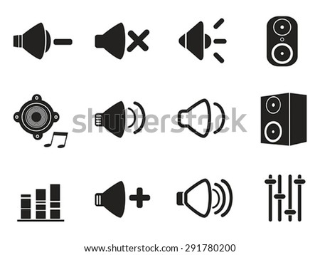 black speaker icons set - stock vector