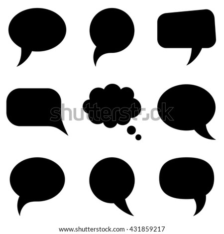 Black speech bubbles collection vector illustration