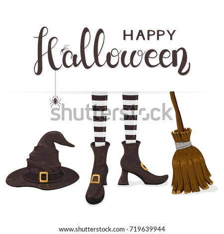 black spiders on lettering happy halloween with witches hat legs in shoes and broom on